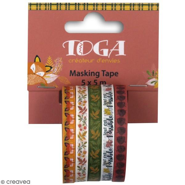 Assortiment de masking tape - Foxy - 5 pcs - Photo n°1