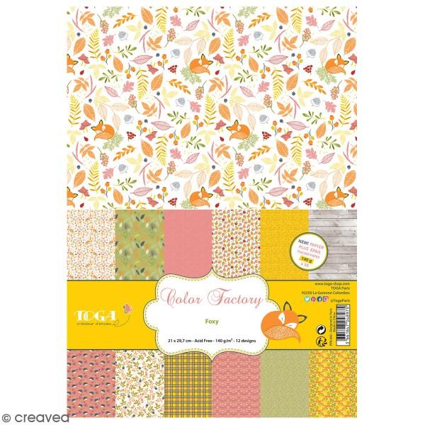 Papier scrapbooking A4 Toga - Color Factory - Foxy - 36 pcs - Photo n°1