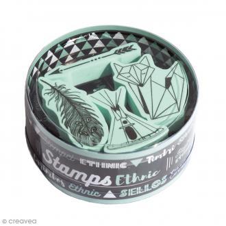 Kit Stampo Kdo - Ethnic - 4 tampons et 1 encreur