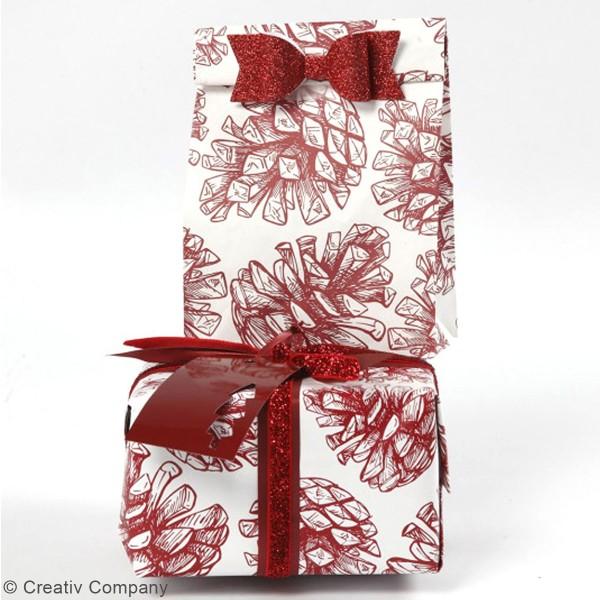 Noeuds en papier pailleté - Différents coloris - 3,1 x 8,5 cm - 4 pcs - Photo n°2