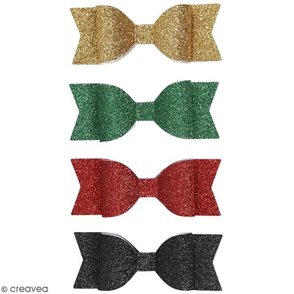 Noeuds en papier pailleté - Différents coloris - 3,1 x 8,5 cm - 4 pcs - Photo n°1