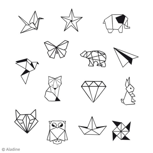 Kit Stampo Bocal - Origami - 14 tampons et 1 encreur - Photo n°2