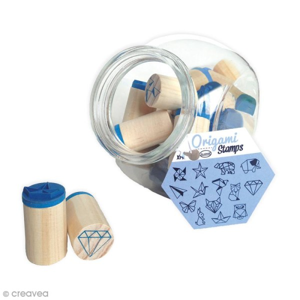 Kit Stampo Bocal - Origami - 14 tampons et 1 encreur - Photo n°1