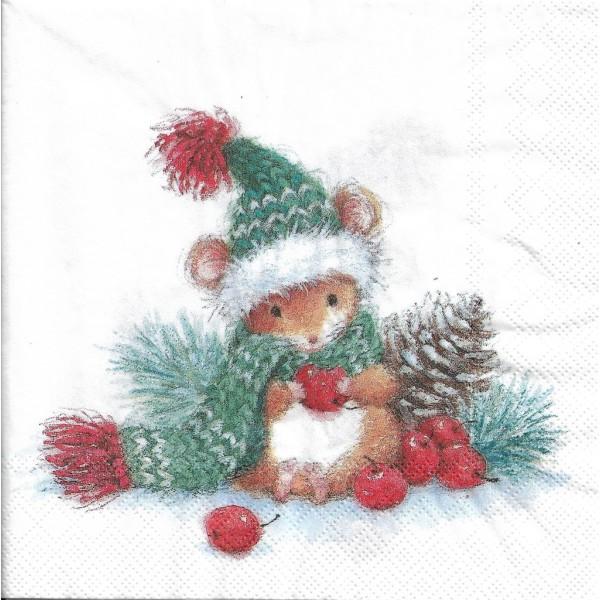 4 Serviettes en papier Souris de Noël Format Lunch Decoupage Decopatch L-820300 IHR - Photo n°1