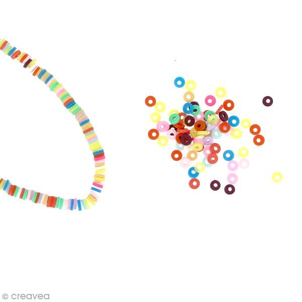 Perles Heishi rondelles 4 mm - Multicolore - 6 g - Photo n°1