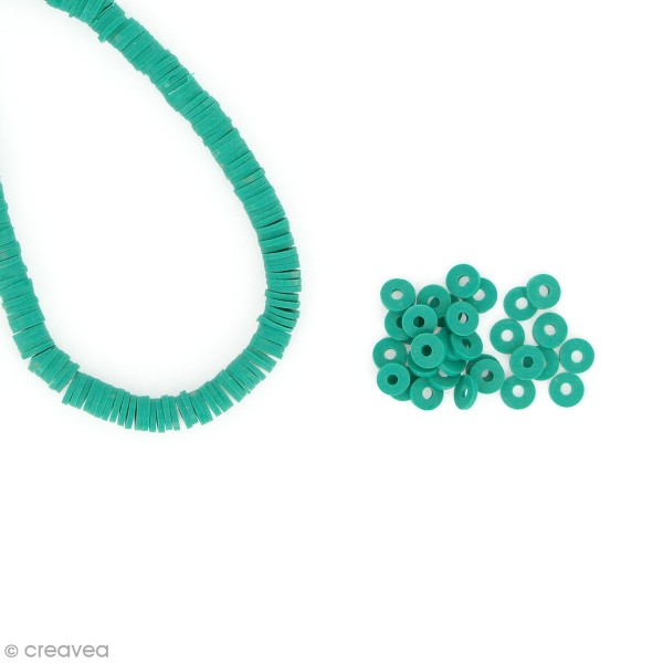 Perles Heishi rondelles 6 mm - Vert - 14 g - Photo n°1
