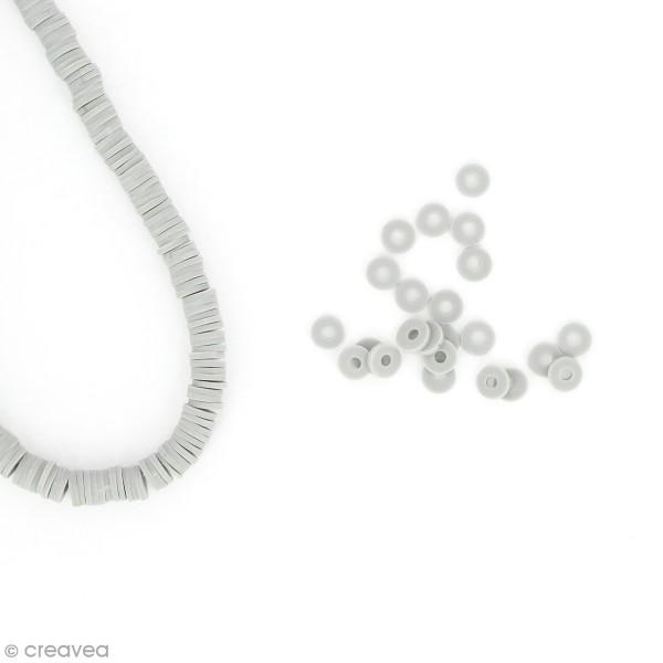 Perles Heishi rondelles 6 mm - Gris clair - 14 g - Photo n°1