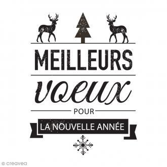 Tampon bois Noël étiquette Meilleurs voeux - 7 x 5 cm