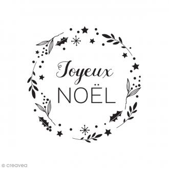 Tampon bois Couronne Joyeux Noël - 5,5 x 3,5 cm