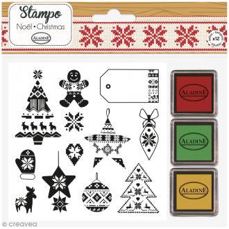 Kit Stampo - Noël Jacquard - 12 tampons + 3 encreurs
