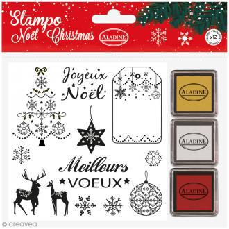 Kit Stampo - Noël Classique - 12 tampons + 3 encreurs