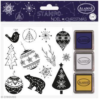 Kit Stampo - Noël Constellation - 12 tampons + 3 encreurs