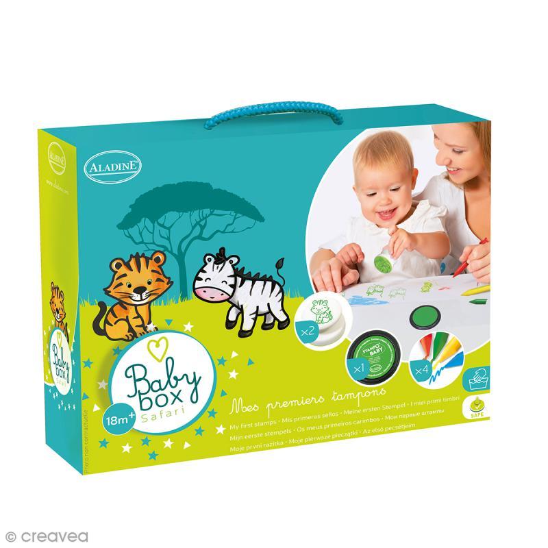 coffret cr atif baby box safari avec tampons encreurs et crayons jeux cr atifs de 2 5 ans. Black Bedroom Furniture Sets. Home Design Ideas