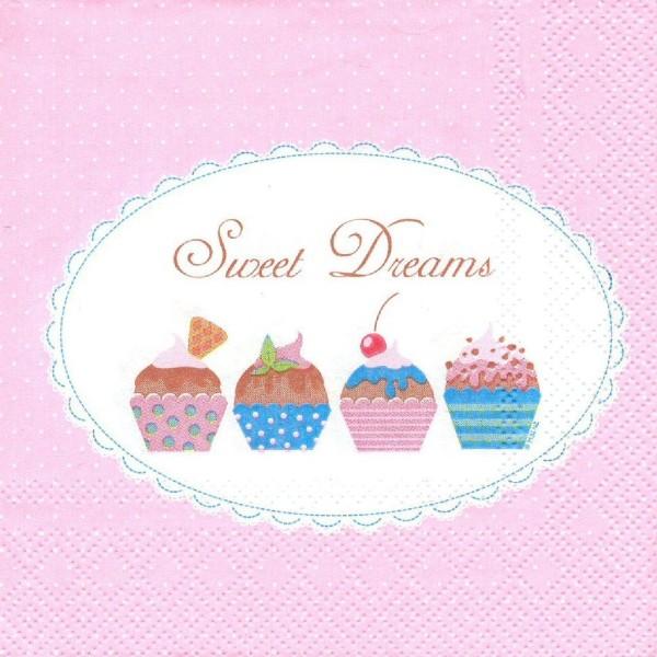 4 Serviettes en papier Pâtisserie Cupcakes Format Cocktail Decoupage Decopatch 111370 Home Fashion - Photo n°1