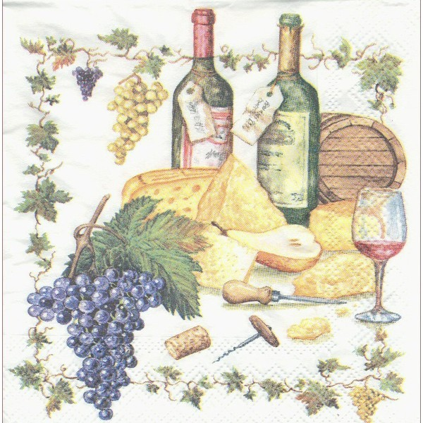 4 Serviettes en papier Cuisine Vin Fromage Format Cocktail Decoupage Decopatch 12506815 Ambiente - Photo n°1