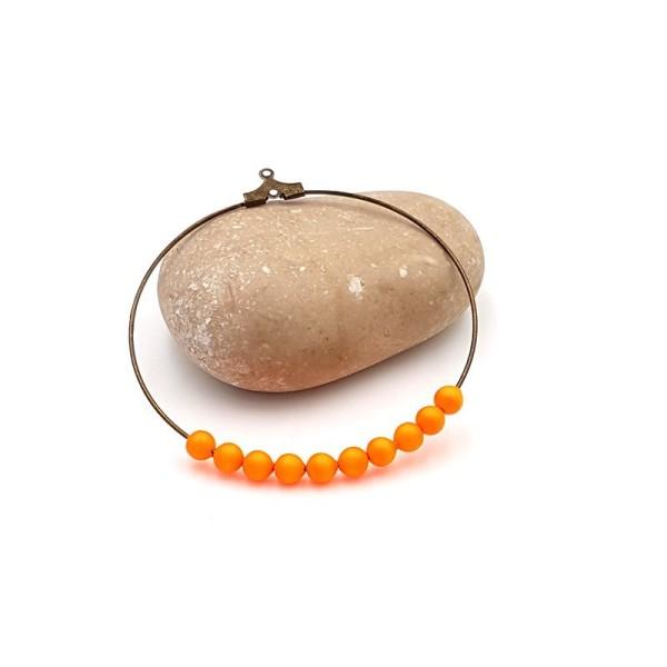 10 Perles Swarovski 4mm Crystal Neon Orange Pearl - Photo n°1