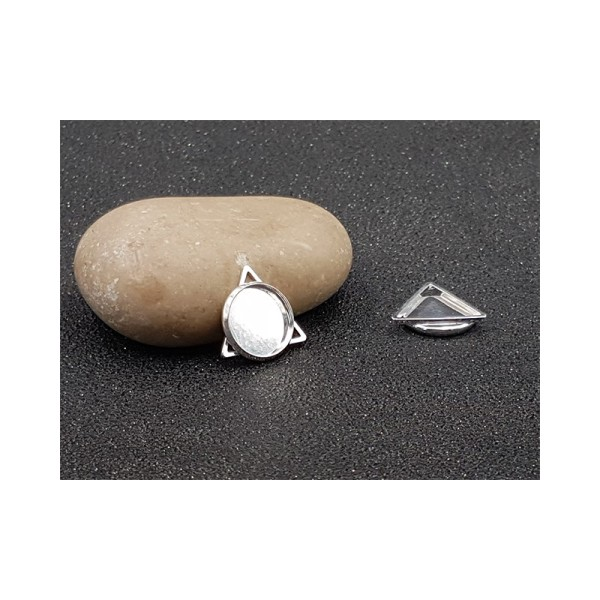 5 Pendentifs Triangle Cabochon Rond 12mm Argent Clair - Photo n°1