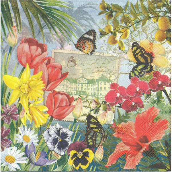 4 Serviettes en papier Insel Mainau Fleurs Papillon Format Lunch Decoupage LU601240 Sweet Pac - Photo n°2