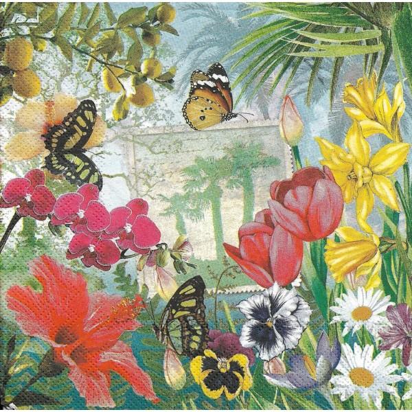 4 Serviettes en papier Insel Mainau Fleurs Papillon Format Lunch Decoupage LU601240 Sweet Pac - Photo n°1