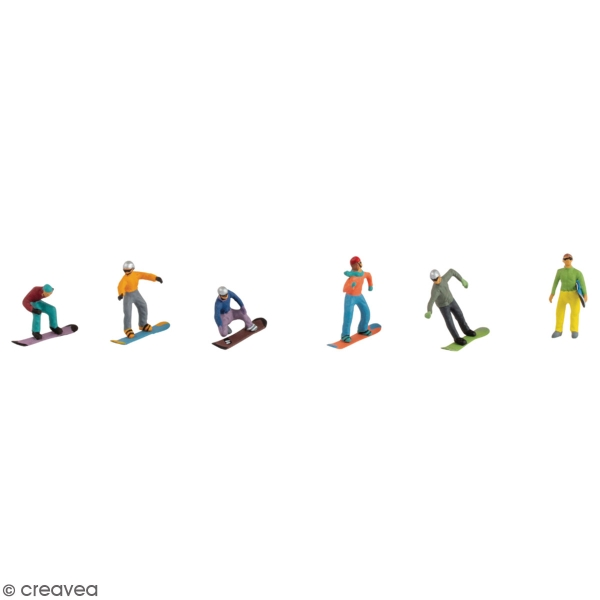 Décoration miniature - Snowboarder - 1,5 à 2 cm - 6 pcs - Photo n°1