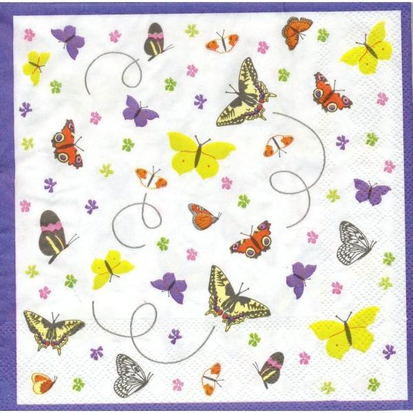 4 Serviettes en papier Petits Papillons Format Lunch Decoupage Decopatch S4256A Stewo - Photo n°1