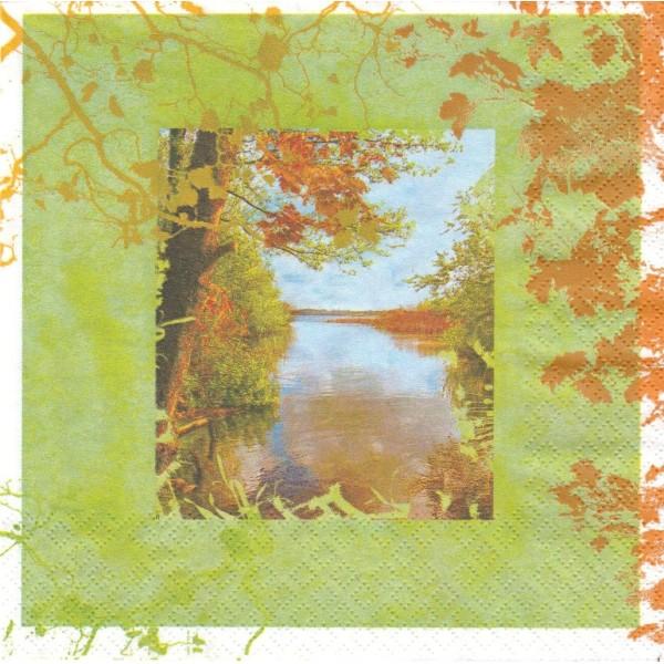 4 Serviettes en papier Paysage Automne Format Lunch Decoupage Decopatch 211007 Home Fashion - Photo n°1