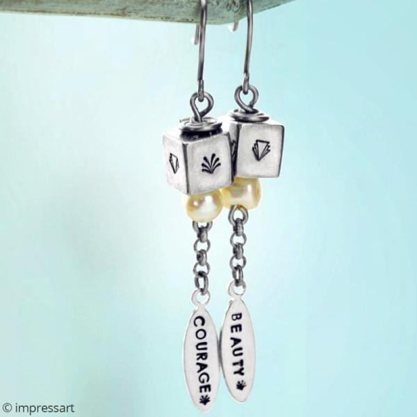 Perles cubes à graver - Métal - 9 mm - 2 pcs - Photo n°2