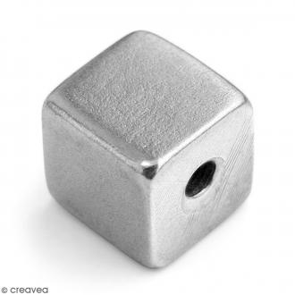 Perles cubes à graver - Métal - 9 mm - 2 pcs