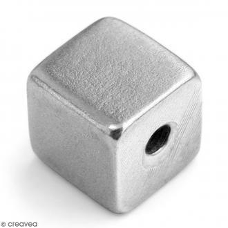 Perles cubes à graver - Métal - 11 mm - 1 pièce