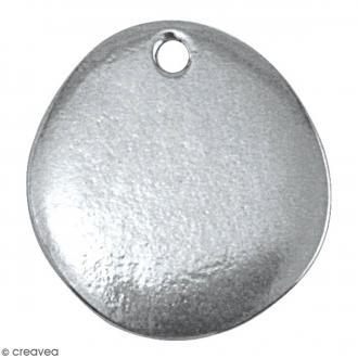 Médaillon à graver - Galet plat - Métal (étain) - 18 x 20 mm - 1 pièce