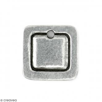 Médaillons à graver - Carré - Métal (étain) - 18 x 18 mm - 2 pcs