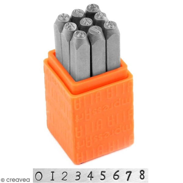 Set tampons Chiffres pour gravure sur métal - Newsprint - 9 pcs - Photo n°1