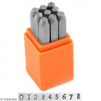 Set tampons Chiffres pour gravure sur métal - Newsprint - 9 pcs