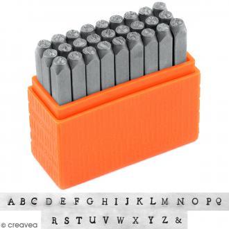 Set tampons Alphabet majuscule pour gravure sur métal - Newsprint Uppercase - 27 pcs