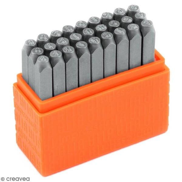 Set tampons Alphabet minuscule pour gravure sur métal - Newsprint - 27 pcs - Photo n°1