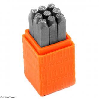 Set tampons Chiffres pour gravure sur métal - Bridgette - 9 pcs