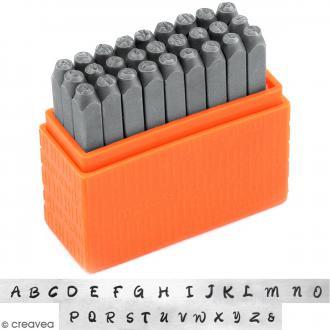 Set de tampons Alphabet majuscule pour gravure sur métal - Bridgette - 27 pcs