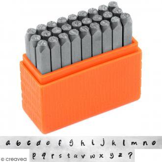 Set tampons Alphabet minuscule pour gravure sur métal - Bridgette - 27 pcs