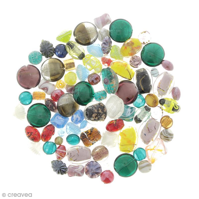 Assortiment de perles en verre - 500 g - Photo n°1