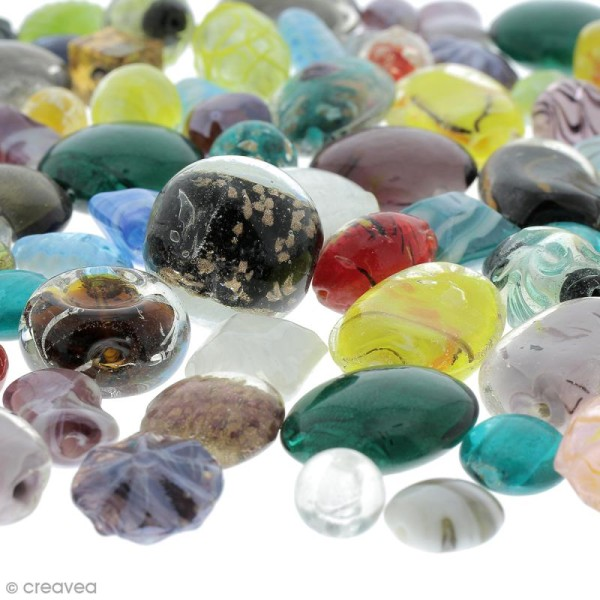 Assortiment de perles en verre - 500 g - Photo n°2