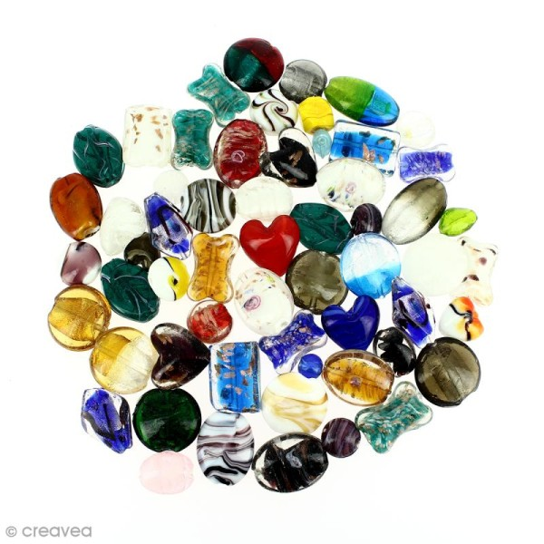 Assortiment de perles en verre - 500 g - Photo n°3