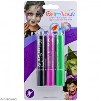 Maquillage Grim'tout - 3 sticks Grimstick Sorcière - Sans paraben