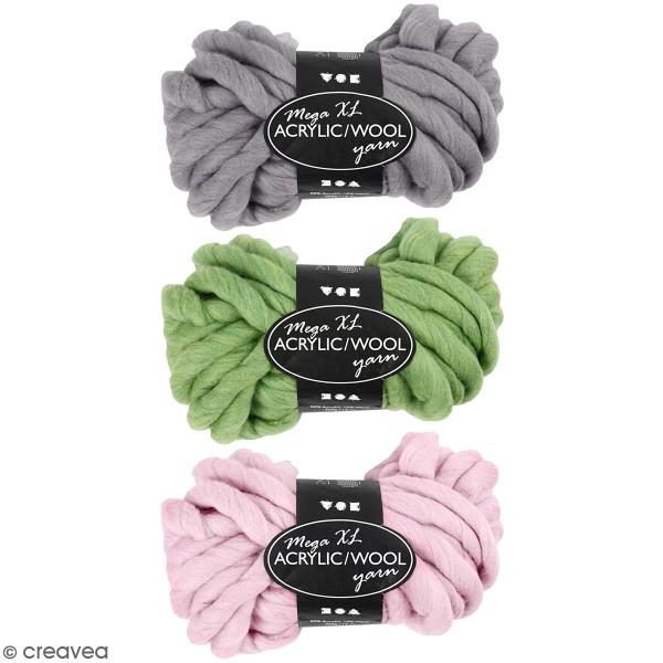 Pelote de laine Mega XL - Acrylique et laine - Différents coloris - 300 gr - 15 m - Photo n°1