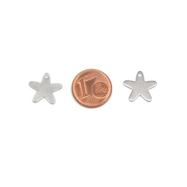 10  Breloques Étoile Argenté En Acier Inoxydable 13mm - Photo n°2