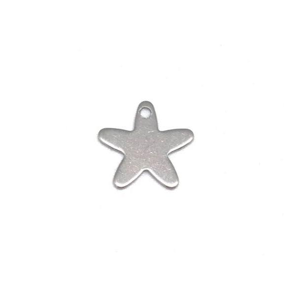 10  Breloques Étoile Argenté En Acier Inoxydable 13mm - Photo n°3