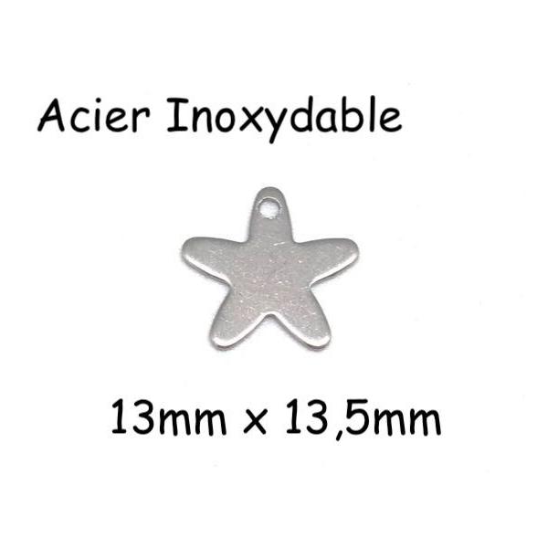 10  Breloques Étoile Argenté En Acier Inoxydable 13mm - Photo n°1