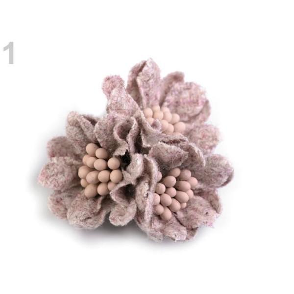 2pc 1 Vintage Laine Rose Fleur Avec des Pistils de ø35 mm, d'Autres Fleurs À Coudre Ou à coller Sur, - Photo n°1