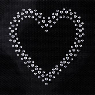 Ecusson thermocollant Coeur ouvert strass - 6 x 6 cm