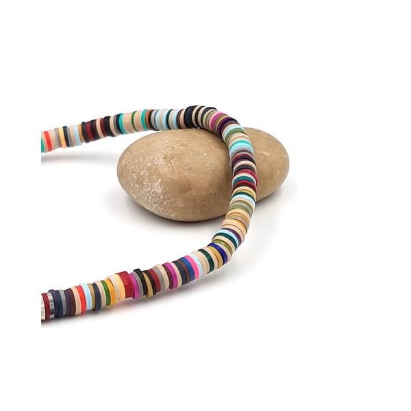 380 Perles Heishi 6mm Multicolores Tons Foncés - Photo n°1
