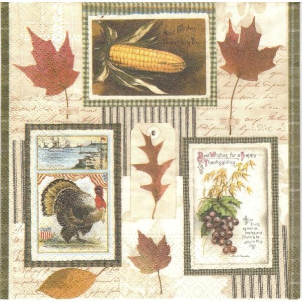 4 Serviettes en papier Automne Fête des Moissons Format Lunch Decoupage Decopatch 74939 Nouveau - Photo n°1